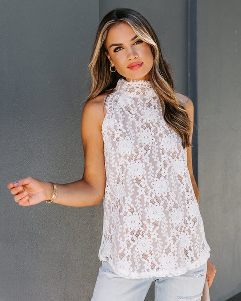Pulse Mock Neck Scalloped Lace Tank