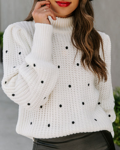 Payton Embroidered Polka Dot Knit Sweater - Ivory