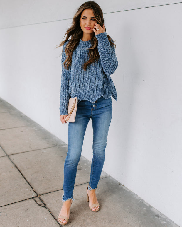 Waves Of Desire Chenille Sweater - Dusty Blue