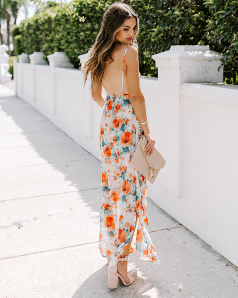 Earth, Wind + Fire Floral Slit Maxi Dress