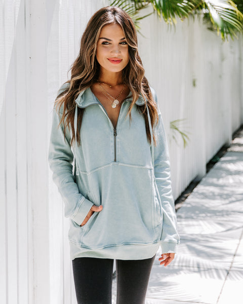 Long Weekend Cotton Pocketed Half Zip Pullover - Mint