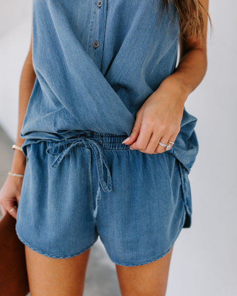 Whim Cotton Drawstring Chambray Shorts