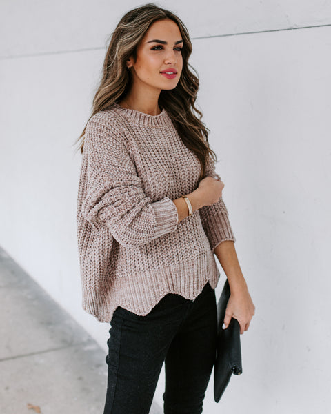 Waves Of Desire Chenille Sweater - Taupe