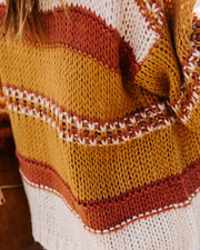 Winter Sunsets Striped Knit Cardigan