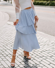 Gone With The Wind Ruffle Tiered Midi Skirt - Sky Blue - FINAL SALE