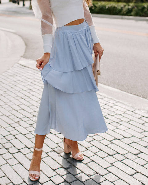 Gone With The Wind Ruffle Tiered Midi Skirt - Sky Blue