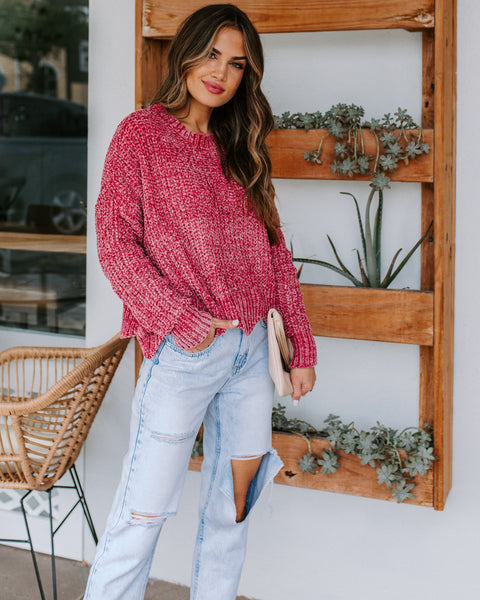 Waves Of Desire Chenille Sweater - Raspberry  - FINAL SALE