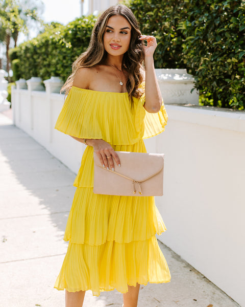 Bonifacio Tiered Pleated Midi Dress - Yellow
