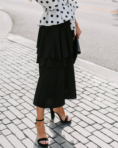 Gone With The Wind Ruffle Tiered Midi Skirt - Black