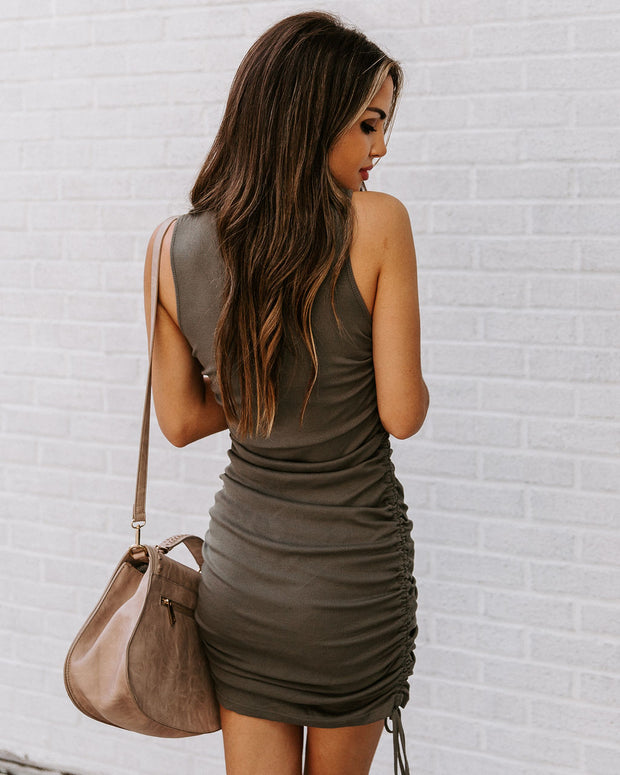 Shake It Up Ruched Knit Dress - Olive