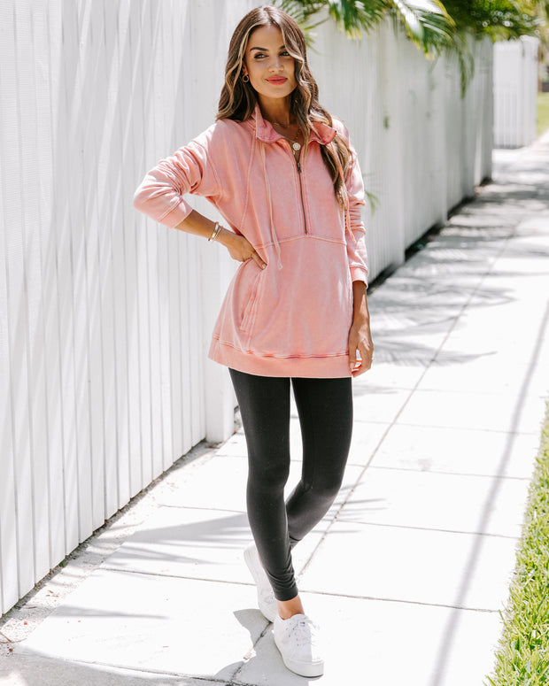 Long Weekend Cotton Pocketed Half Zip Pullover - Coral