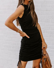 Shake It Up Ruched Knit Dress - Black