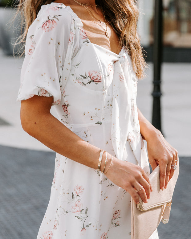 Girlfriend Floral Puff Sleeve Sweetheart Dress - FINAL SALE