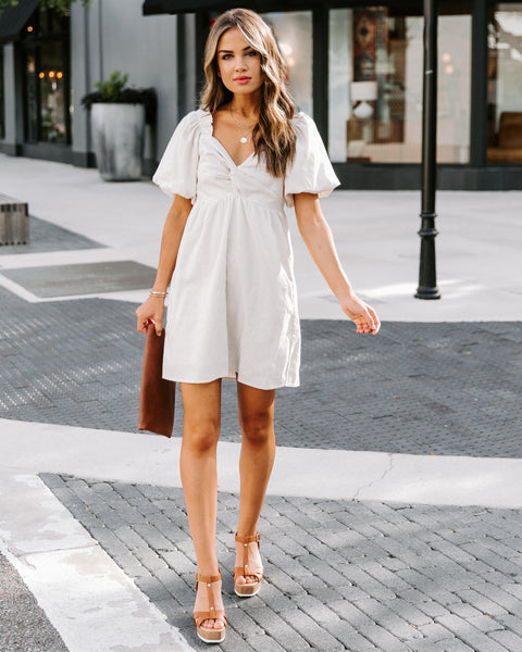 Danielle Cotton + Linen Puff Sleeve Dress - Ivory