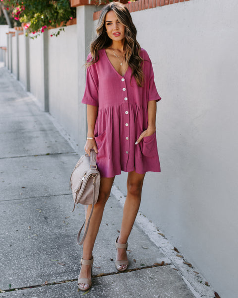 Springtime Pocketed Babydoll Tunic - Berry