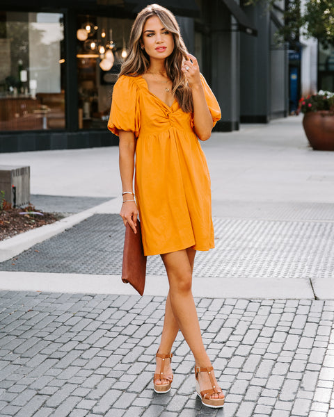 Danielle Cotton + Linen Puff Sleeve Dress - Tangerine