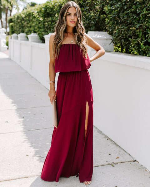 Festivities Strapless Maxi Dress - Wine