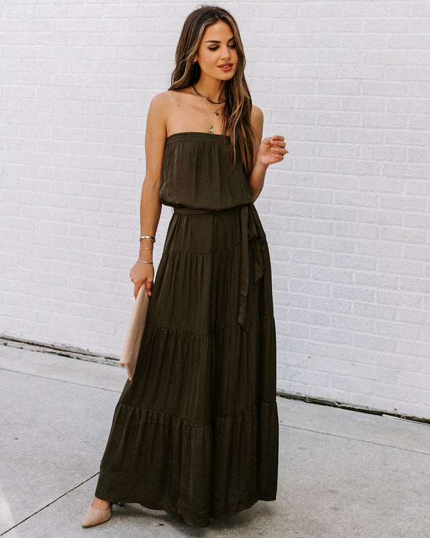 Free Falling Strapless Tiered Maxi Dress - Olive