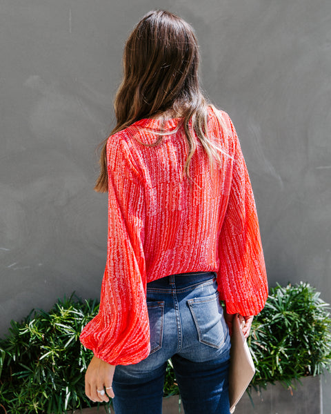 Fruitful Floral Shimmer Ruffle Blouse