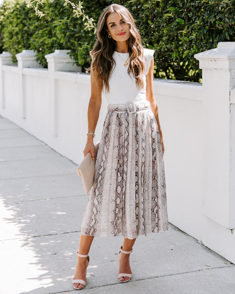 Bellissimo Pleated Python Belted Midi Skirt - FINAL SALE