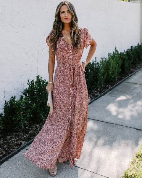 Thriving Floral Button Down Ruffle Maxi Dress