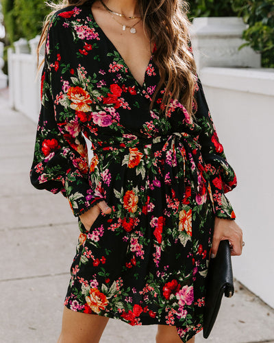 Lulla Pocketed Floral Wrap Dress
