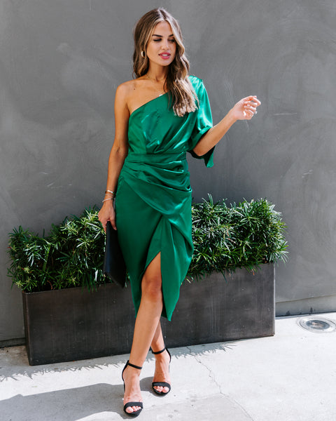 Persimmon One Shoulder Satin Drape Dress - Emerald