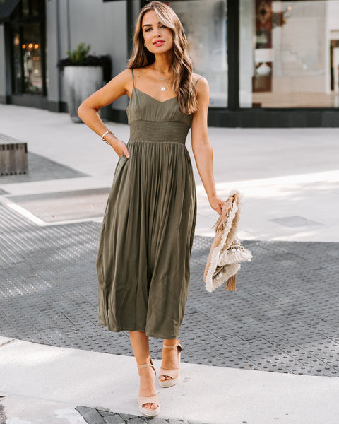 Lakeside Pocketed Smocked Midi Dress - Olive