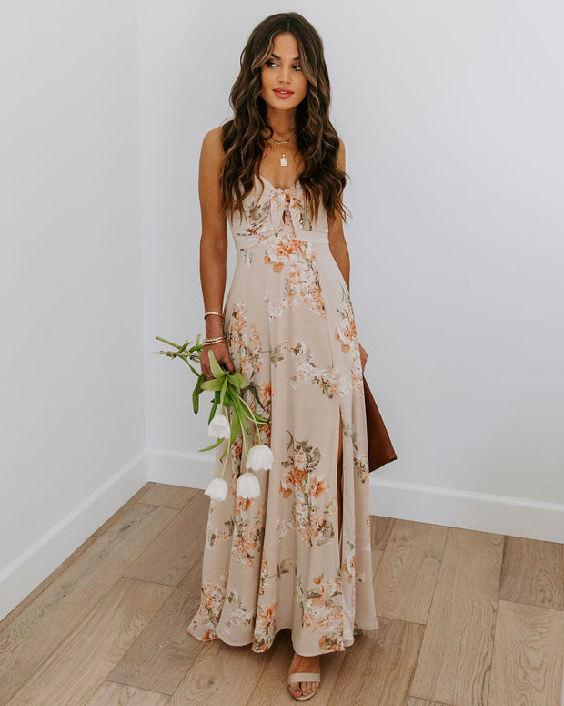 Smile Says It All Floral Tie Front Maxi Dress