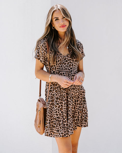 Doreen Leopard Babydoll Dress