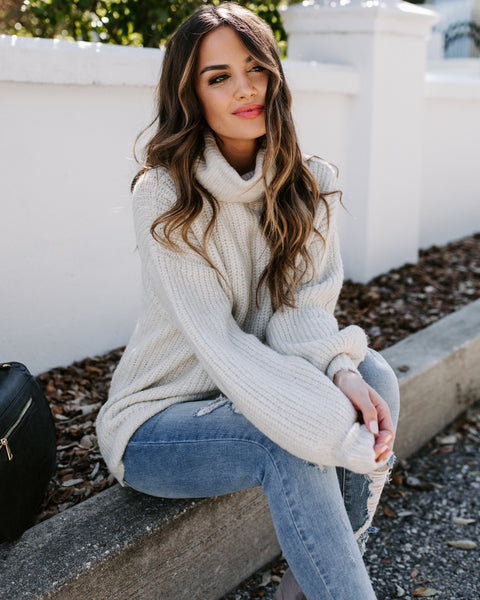 My Main Dish Turtleneck Sweater - Beige - FINAL SALE