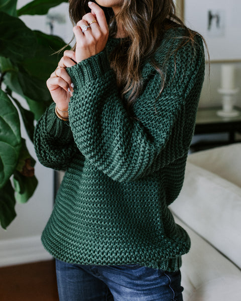 Laughter Heals All Boat Neck Knit Sweater - Hunter Green