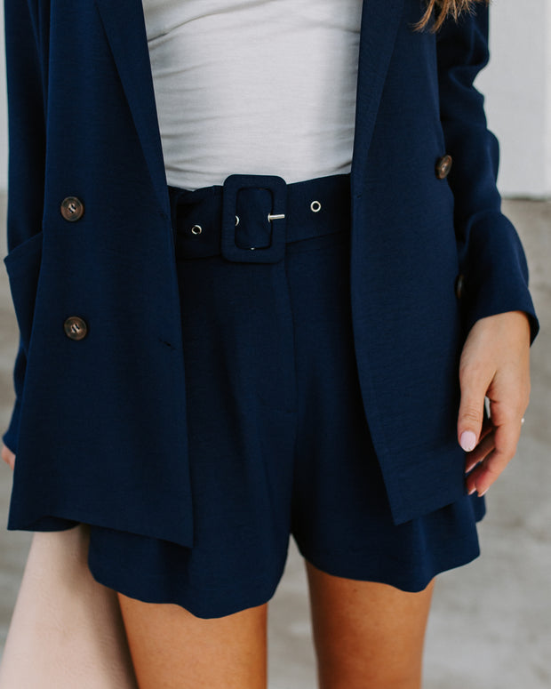 Navy Baby Pocketed Belted Shorts - FINAL SALE