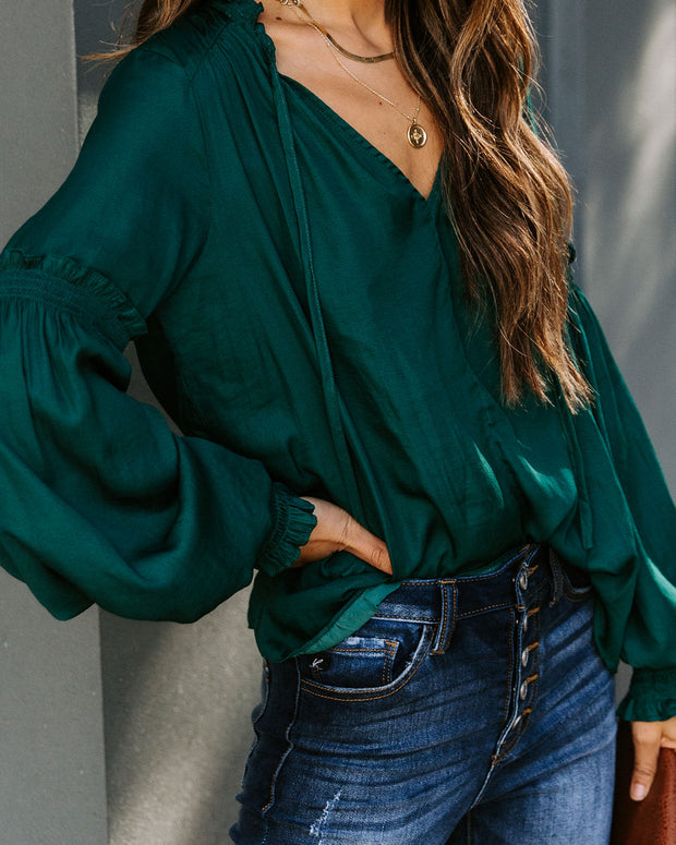 Hollis Satin Smocked Ruffle Blouse - Deep Green
