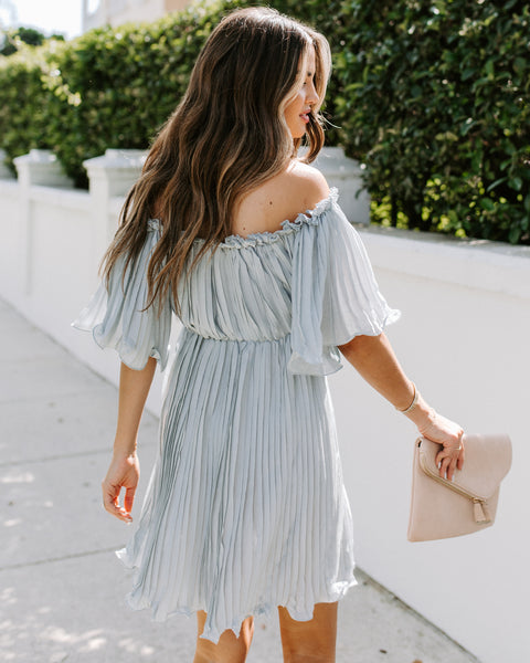 Ultra Feminine Pleated Off The Shoulder Dress - Waterlily