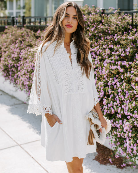Sweet Mary Crochet Lace Pocketed Dress - Ivory