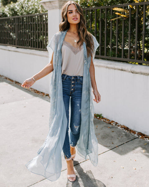 Jade Embroidered Duster - Blue - FINAL SALE