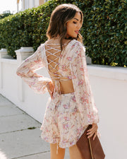 Envision Love Floral Ruffle Tiered Cutout Romper