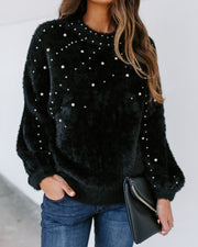Rise Above Pearl Embellished Fuzzy Knit Sweater