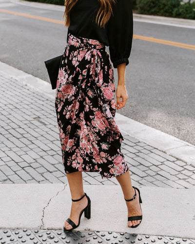 Acquisition Floral Wrap Midi Skirt