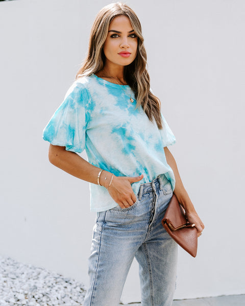 Jorgie Cotton Tie Dye Puff Sleeve Top