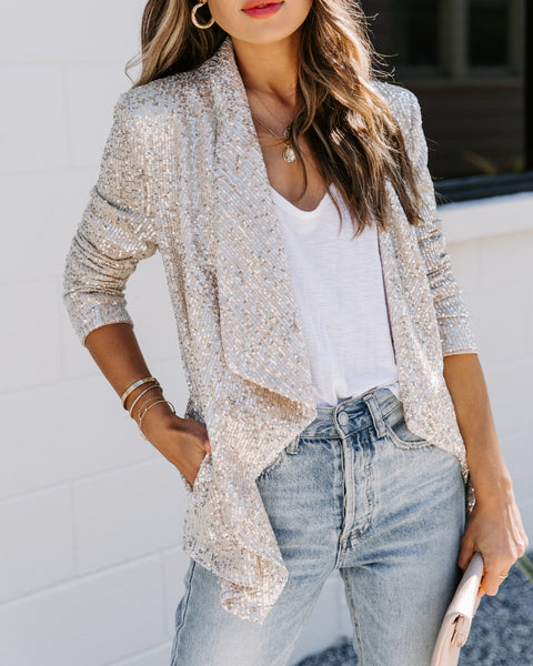Hit The Jackpot Pocketed Sequin Drape Blazer