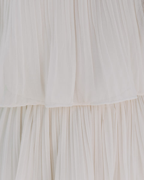 Bonifacio Tiered Pleated Midi Dress - Cream
