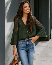 Du Jour Crochet Blouse - Olive - FINAL SALE