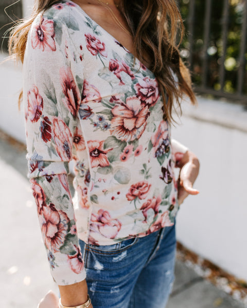 Pleasantville Button Down Floral Knit Cardigan