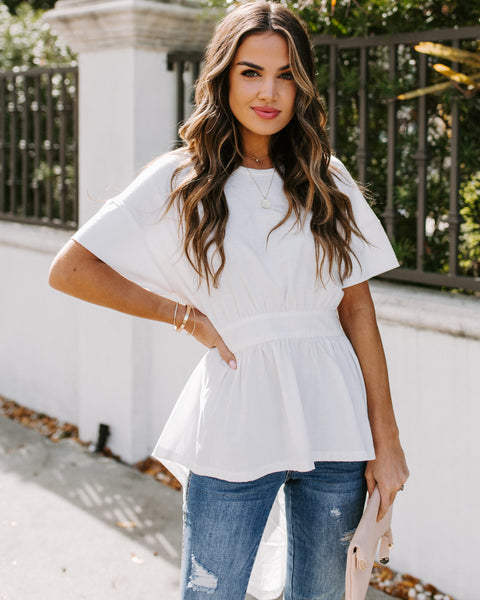 Free Verse Cotton High Low Peplum Top - Off White