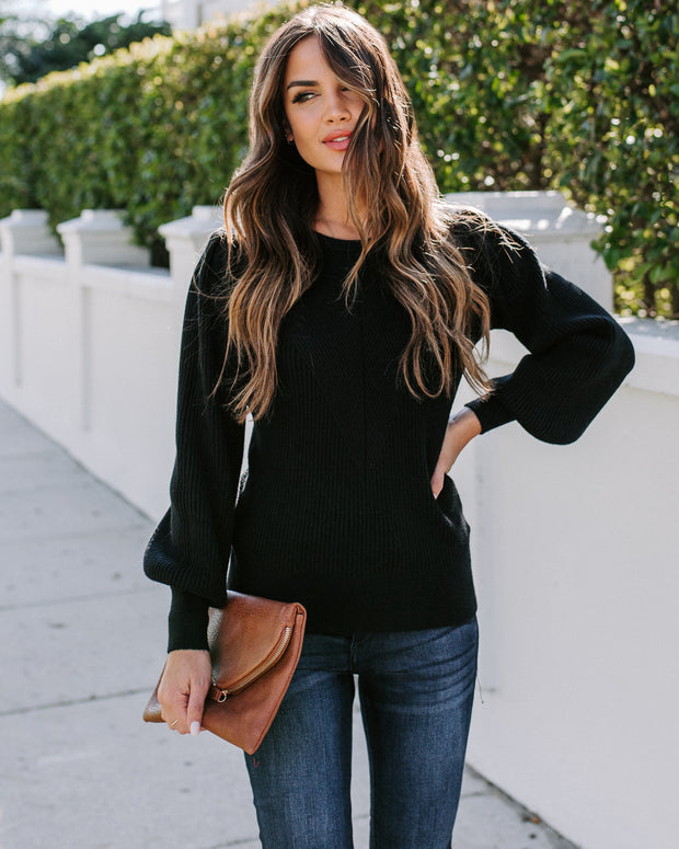 Bubble Over Ribbed Knit Sweater - Black
