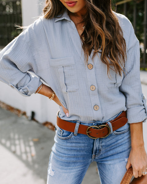 Santa Fe Cotton Button Down Pocket Top - Dusty Blue