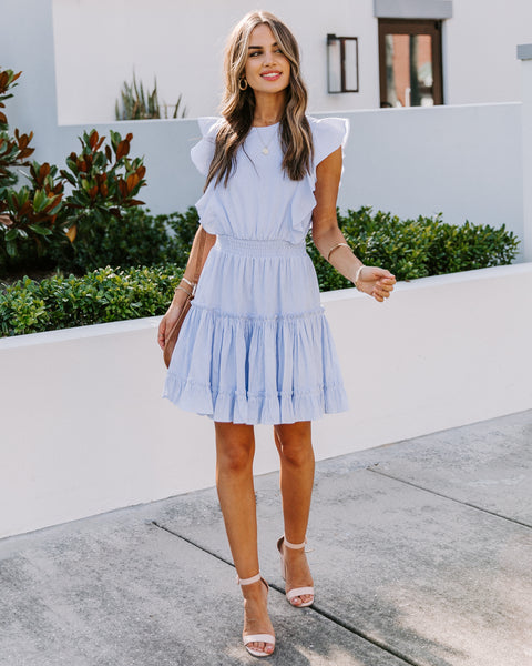 Capri Cotton Striped Ruffle Dress