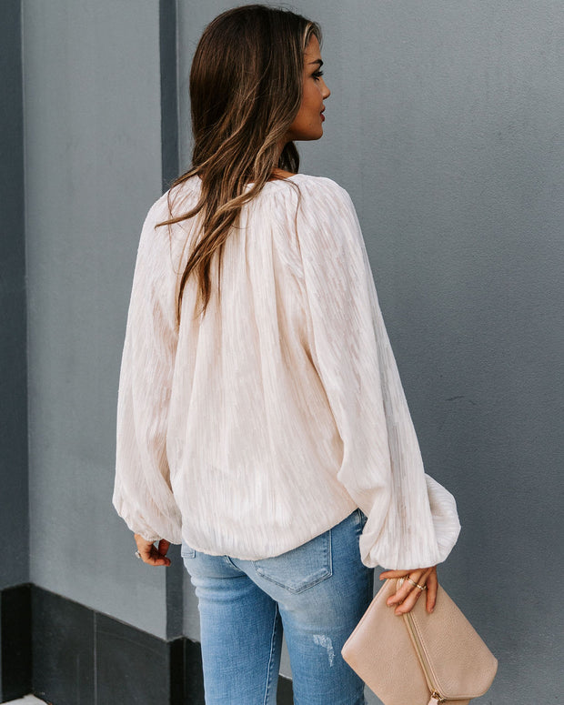 In Perfect Form Textured Metallic Blouse - Cream